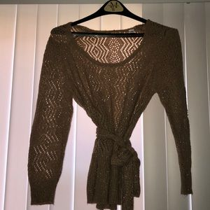 Size Large Gold Circle-Lace Sweater